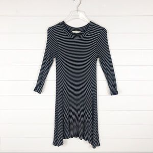 AEO Black White Stripe Long Sleeve Dress Casual